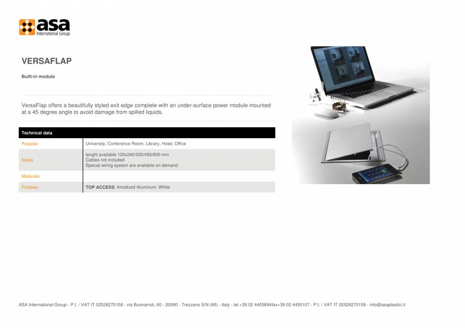 Pagina 1 - Priza incorporata ASA VersaFlap Fisa tehnica Engleza VERSAFLAP Built-in module  VersaFlap...
