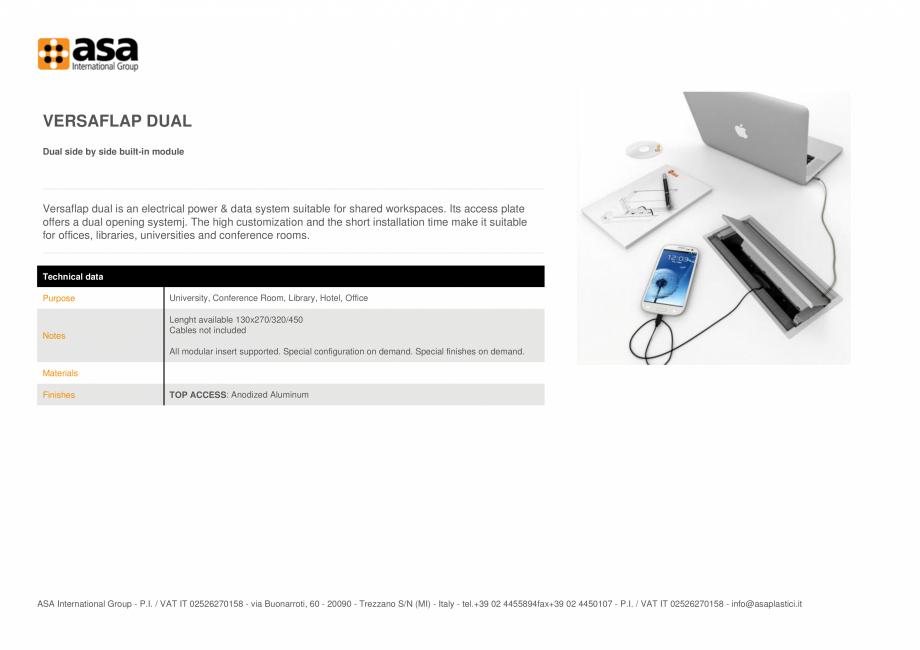 Pagina 1 - Prize duale, incorporate alaturat ASA VersaFlap dual Fisa tehnica Engleza VERSAFLAP DUAL ...