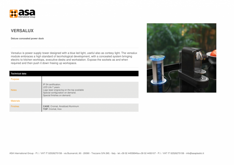 Pagina 1 - Doc de alimentare deluxe ascuns ASA VersaLux Fisa tehnica Engleza VERSALUX Deluxe...