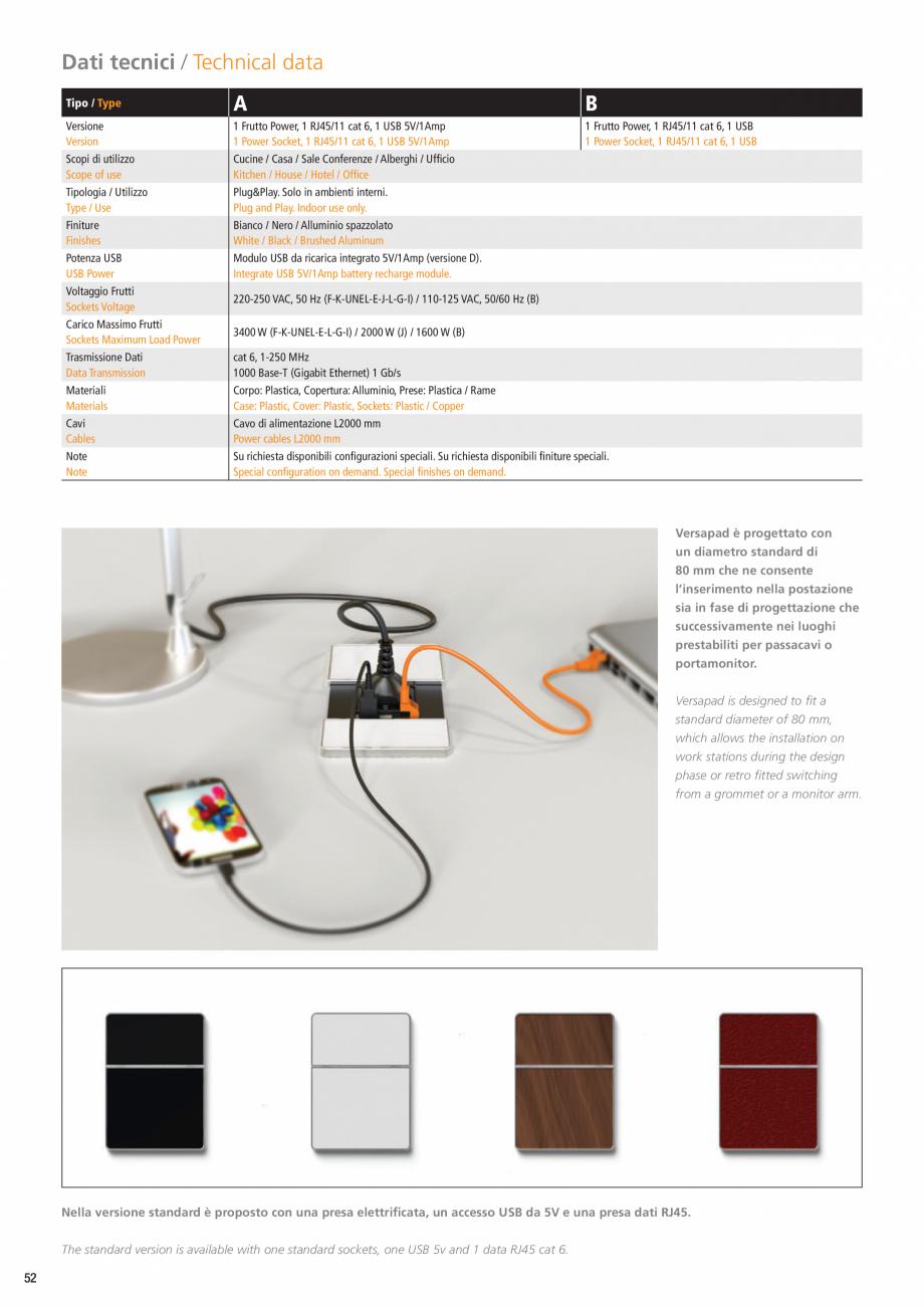 Pagina 3 - Doc de alimentare cu capac glisant ASA VersaPad Fisa tehnica Engleza 00 mm Power cables...