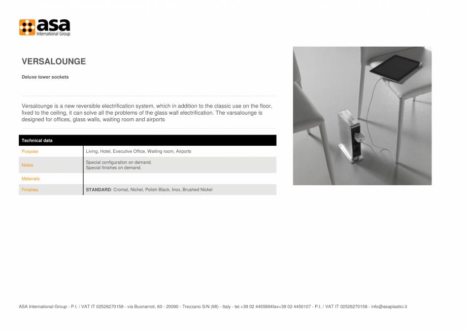 Pagina 1 - Turn de prize delux ASA VersaLounge Fisa tehnica Engleza VERSALOUNGE Deluxe tower sockets...