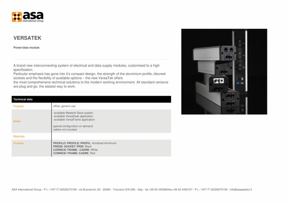 Pagina 1 - Priza de date/energie electrica ASA VersaTek Fisa tehnica Engleza VERSATEK Power/data...