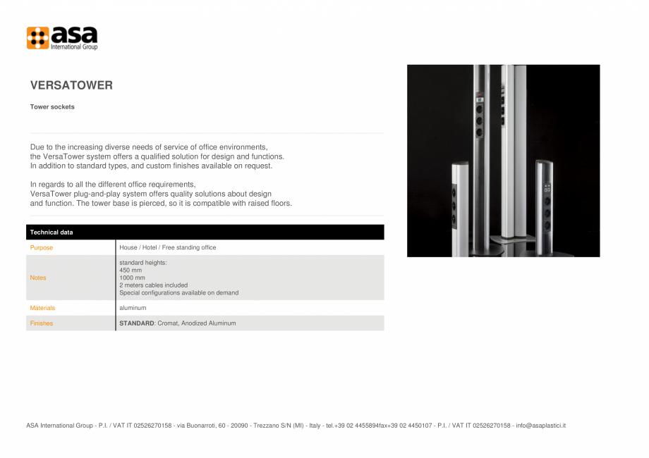 Pagina 1 - Turn de prize ASA VersaTower Fisa tehnica Engleza VERSATOWER Tower sockets  Due to the...