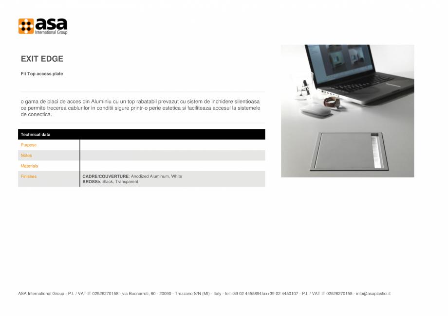 Pagina 1 - Placuta de acces fixa ASA Exit edge Fisa tehnica Engleza EXIT EDGE Fit Top access plate  ...