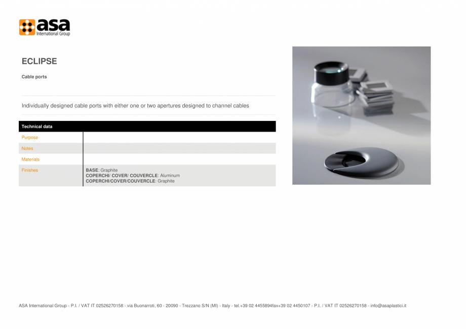 Pagina 1 - Porturi pentru cabluri  ASA Eclipse Fisa tehnica Engleza ECLIPSE Cable ports ...