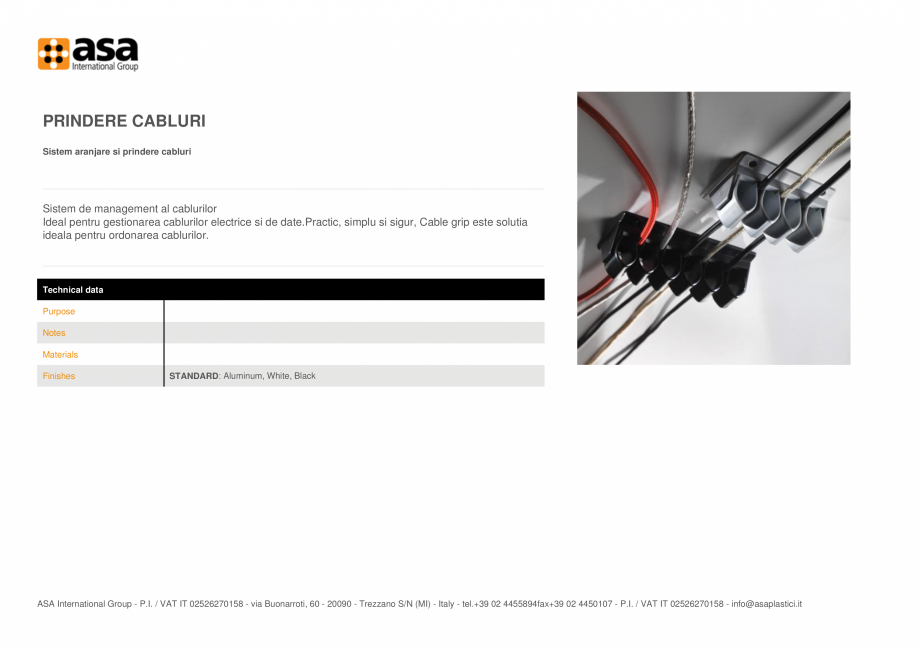 Pagina 1 - Sistem aranjare si prindere cabluri  ASA Cable grip Fisa tehnica Engleza PRINDERE CABLURI...