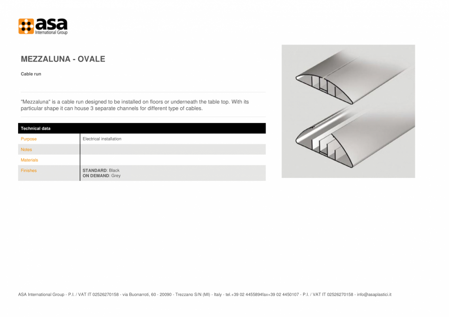Pagina 1 - Sistem de management al cablurilor  ASA Mezzaluna - ovale Fisa tehnica Engleza MEZZALUNA ...
