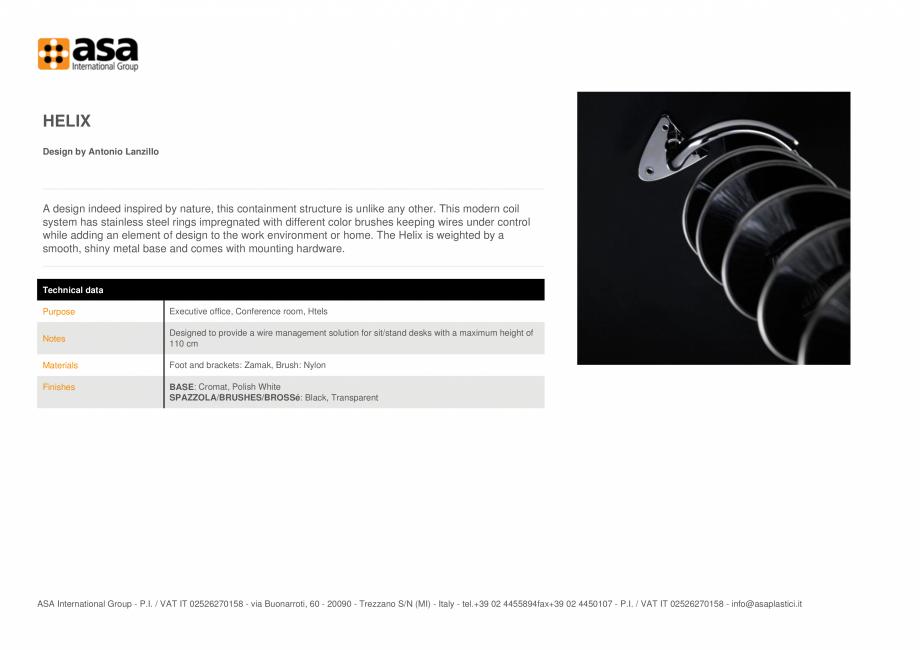 Pagina 1 - Structura de izolare ASA Helix Fisa tehnica Engleza HELIX Design by Antonio Lanzillo  A...