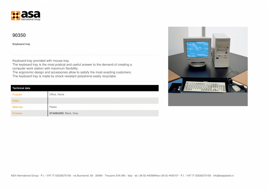 Pagina 1 - Tavita pentru tastatura  ASA 90350 Fisa tehnica Engleza 90350 Keyboard tray ...