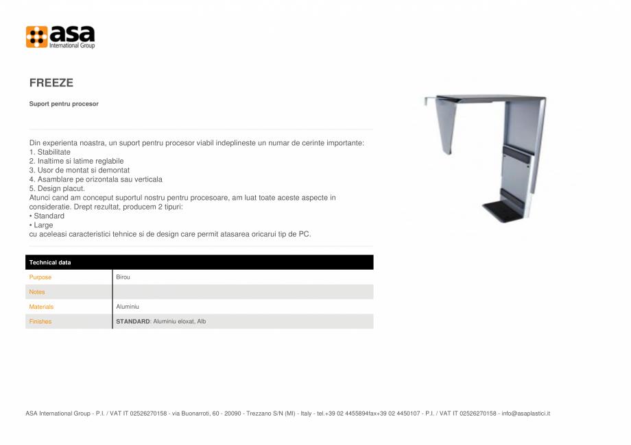 Pagina 1 - Suport din aluminiu pentru procesor ASA Freeze Fisa tehnica Engleza FREEZE Suport pentru ...
