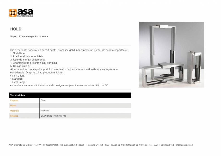 Pagina 1 - Suport din aluminiu pentru procesor ASA Hold Fisa tehnica Engleza HOLD Suport din...