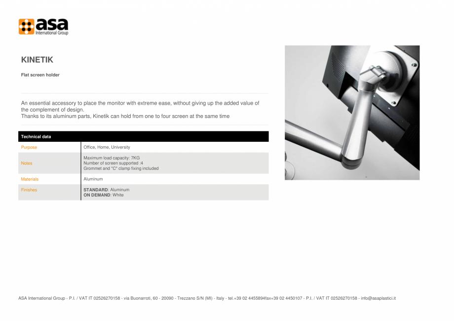 Pagina 1 - Suport pentru ecran plat  ASA Kinetik Fisa tehnica Engleza KINETIK Flat screen holder  An...