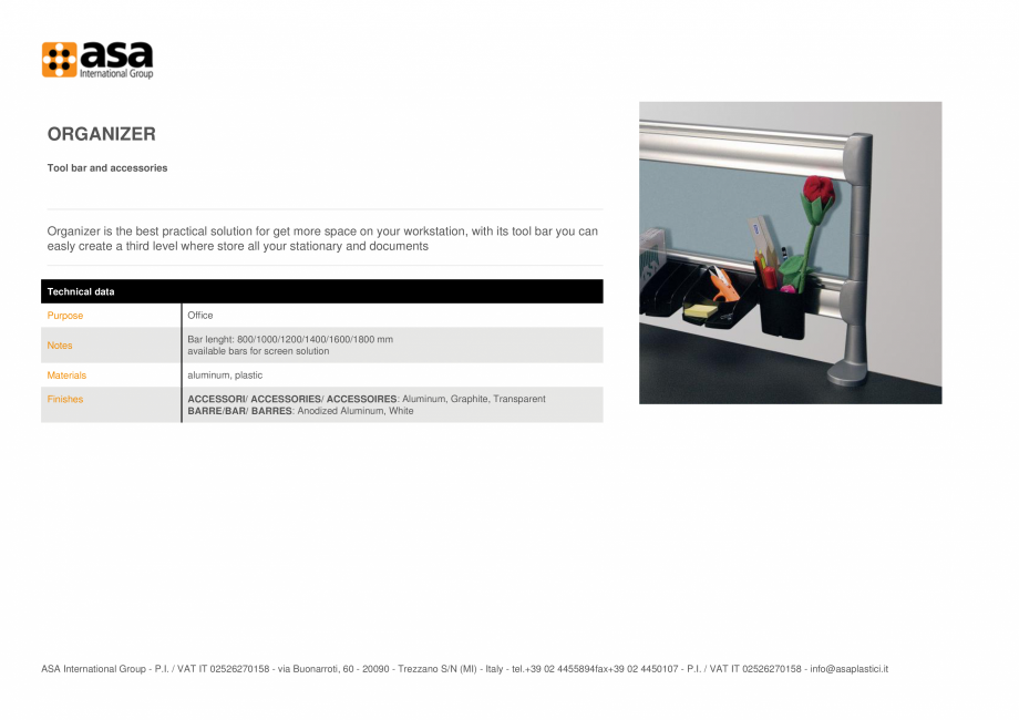 Pagina 1 - Bara pentru instrumente si accesorii  ASA Organizer Fisa tehnica Engleza ORGANIZER Tool...