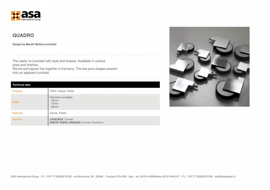 Pagina 1 - Rotita ASA Quadro Fisa tehnica Engleza QUADRO Design by Marelli Molteni architetti  The...