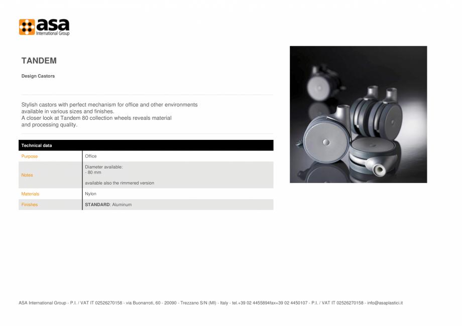 Pagina 1 - Rotita design  ASA Tandem Fisa tehnica Engleza TANDEM Design Castors  Stylish castors...