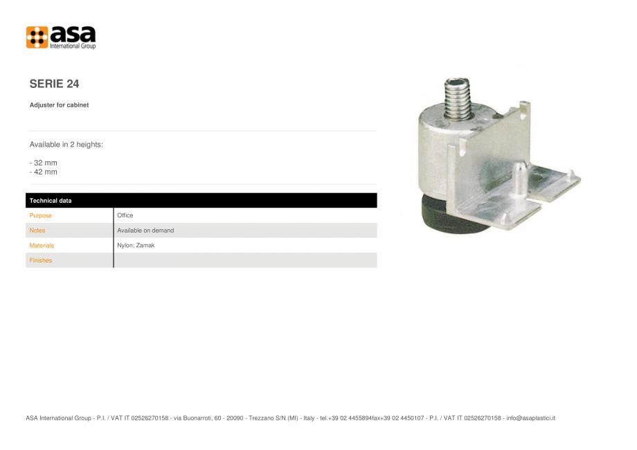 Pagina 1 - Piciorus reglabil pentru dulapuri  ASA Serie 24 Fisa tehnica Engleza SERIE 24 Adjuster...
