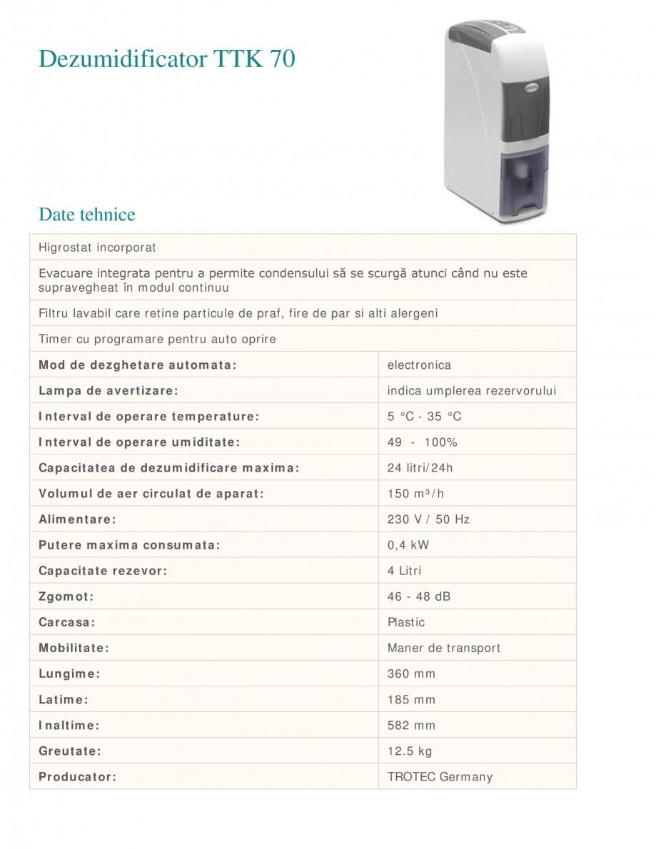 Pagina 1 - Dezumidificator casnic TROTEC Germany TTK 70 Fisa tehnica Romana Dezumidificator TTK 70  ...