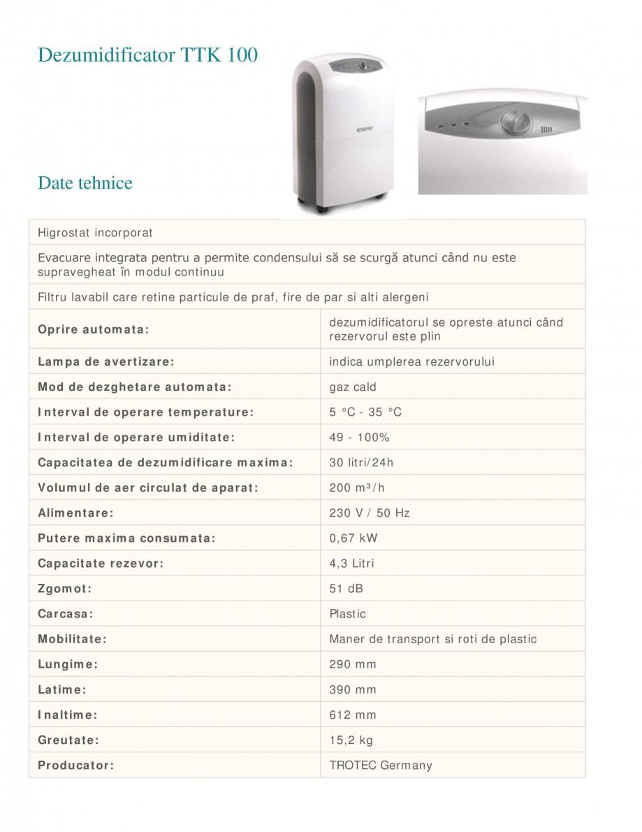 Pagina 1 - Dezumidificator casnic TROTEC Germany TTK 100 Fisa tehnica Romana Dezumidificator TTK 100...