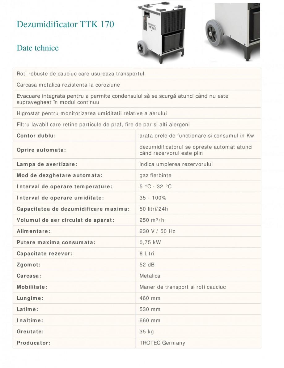 Pagina 1 - Dezumidificator profesional TROTEC Germany TTK 170 Fisa tehnica Romana Dezumidificator...