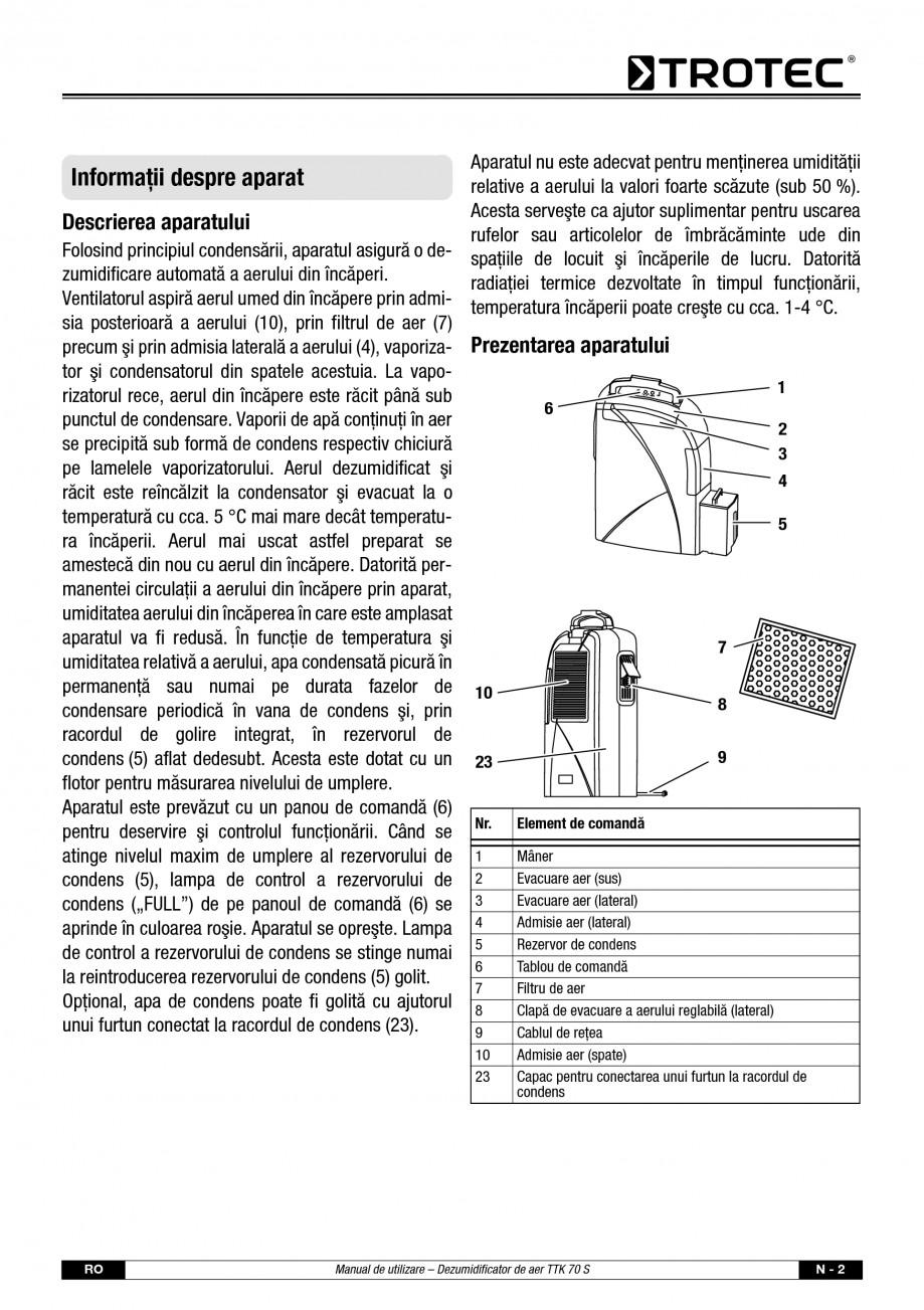 Pagina 3 - Dezumidificator casnic TROTEC Germany TTK 70 Instructiuni montaj, utilizare Romana re a...