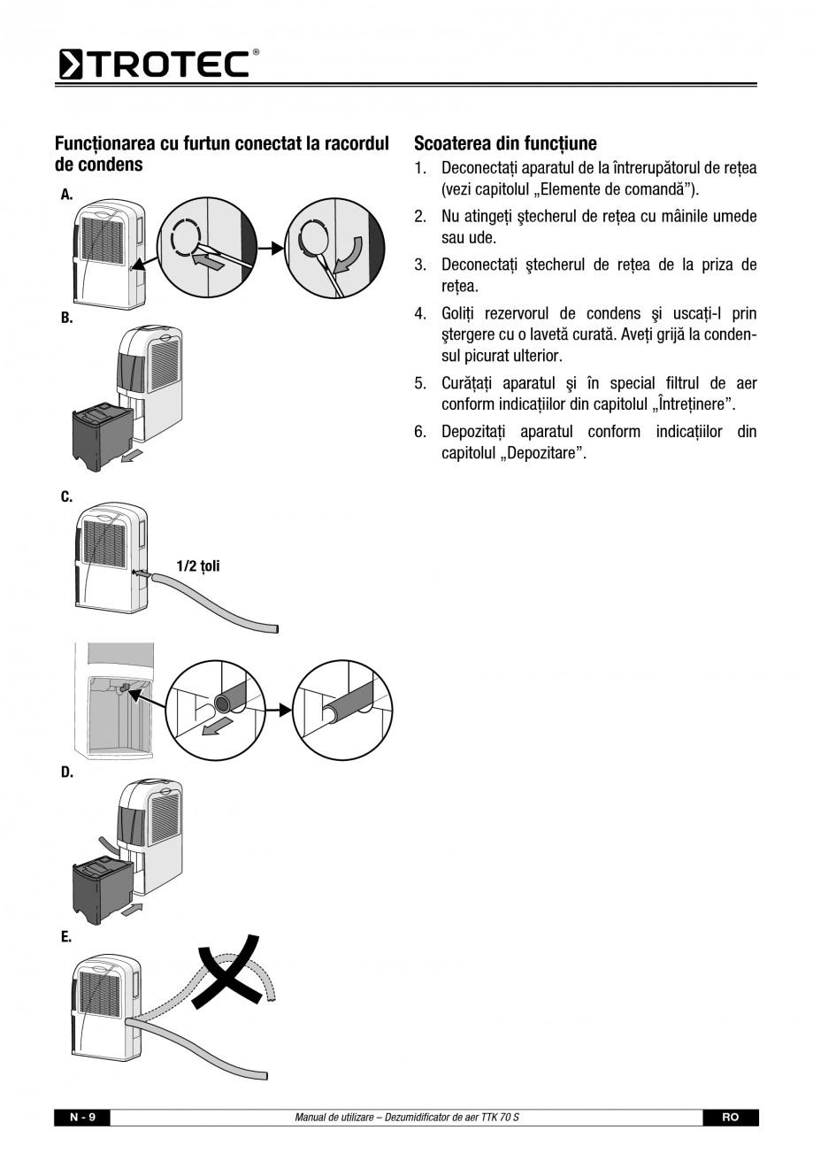 Pagina 10 - Dezumidificator casnic TROTEC Germany TTK 70 Instructiuni montaj, utilizare Romana...