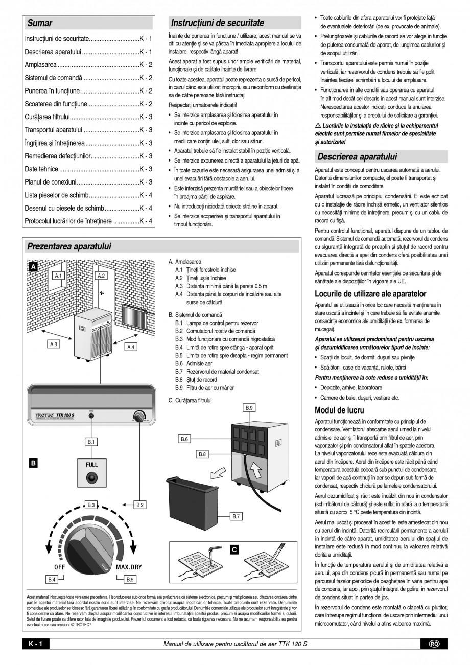 Pagina 2 - Dezumidificator profesional TROTEC Germany TTK 120 Instructiuni montaj, utilizare Romana ...