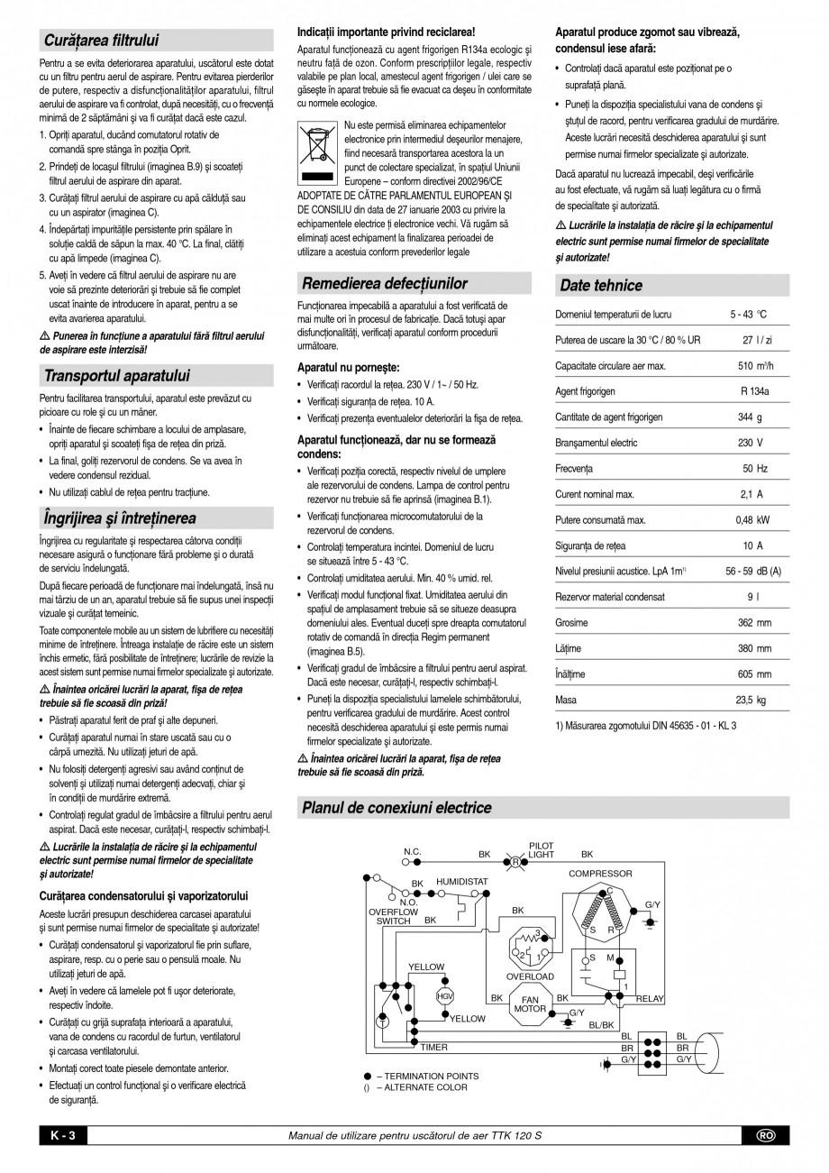 Pagina 4 - Dezumidificator profesional TROTEC Germany TTK 120 Instructiuni montaj, utilizare Romana ...
