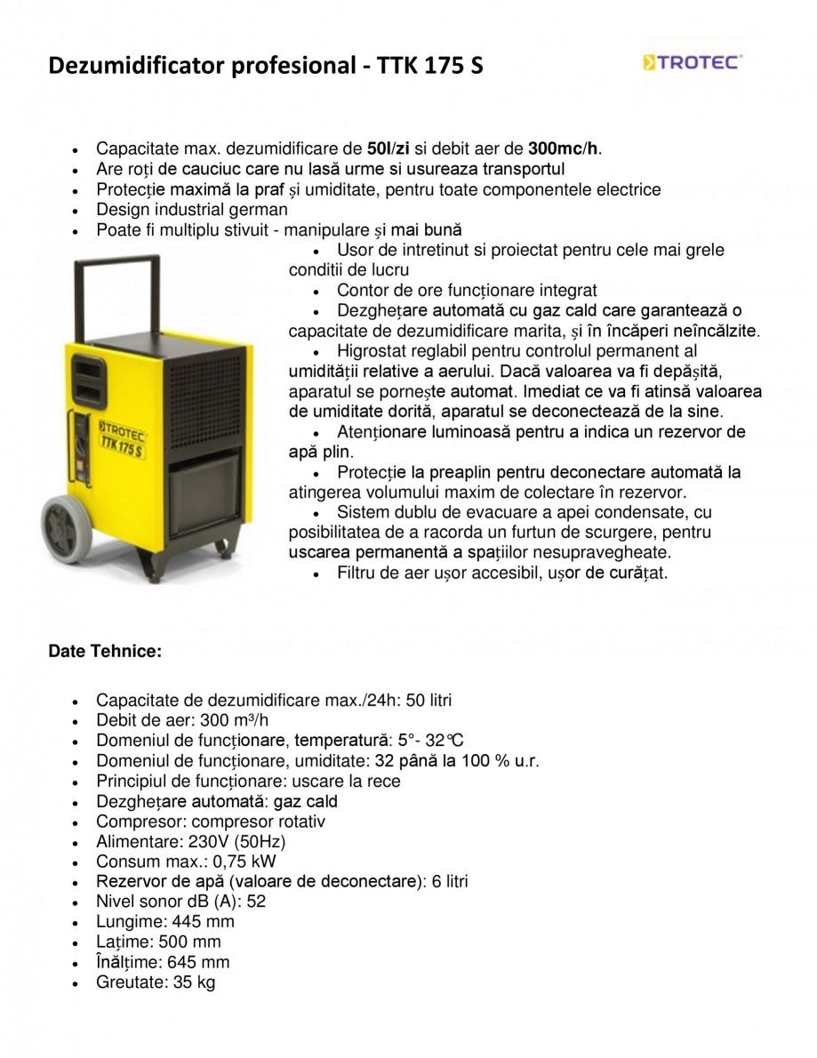 Pagina 1 - Dezumidificator profesional TROTEC Germany TTK 175 S Fisa tehnica Romana Dezumidificator ...
