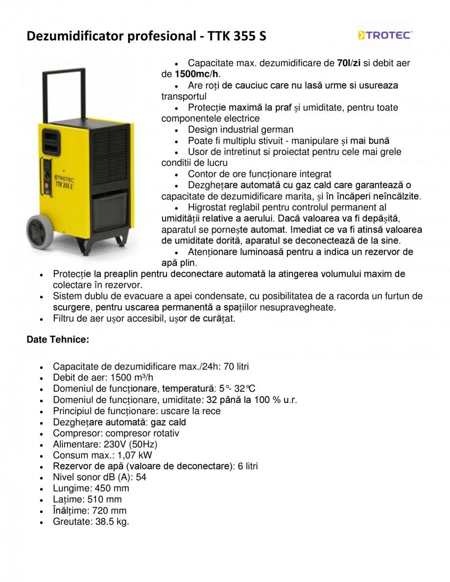 Pagina 1 - Dezumidificator profesional TROTEC Germany TTK 355 S Fisa tehnica Romana Dezumidificator ...