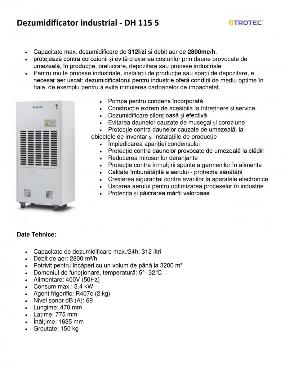 Pagina 1 - Dezumidificator industrial TROTEC Germany DH 115 S Fisa tehnica Romana Dezumidificator...
