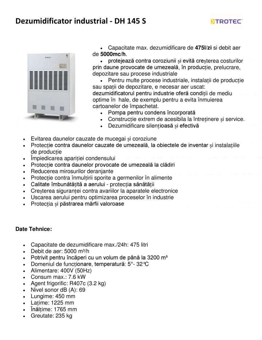 Pagina 1 - Dezumidificator industrial TROTEC Germany DH 145 S Fisa tehnica Romana Dezumidificator...