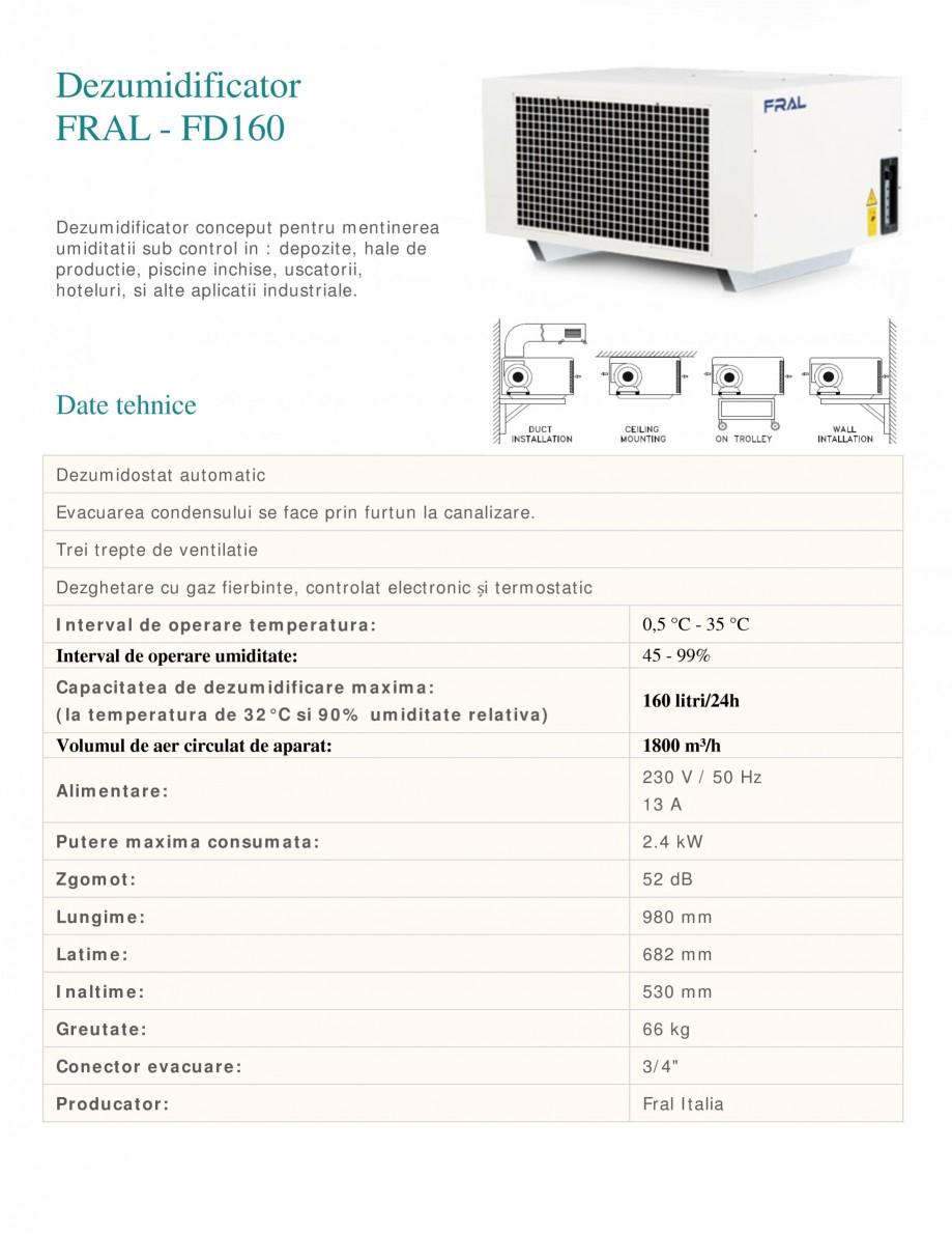 Pagina 1 - Dezumidificator industrial FRAL FD 160 Fisa tehnica Romana Dezumidificator FRAL - FD160...