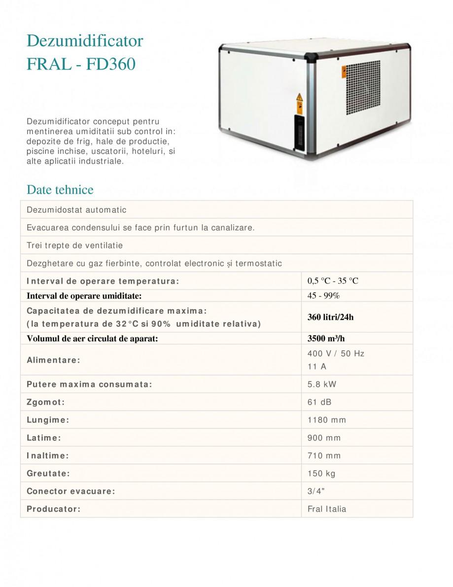 Pagina 1 - Dezumidificator industrial FRAL FD 360 Fisa tehnica Romana Dezumidificator FRAL - FD360...