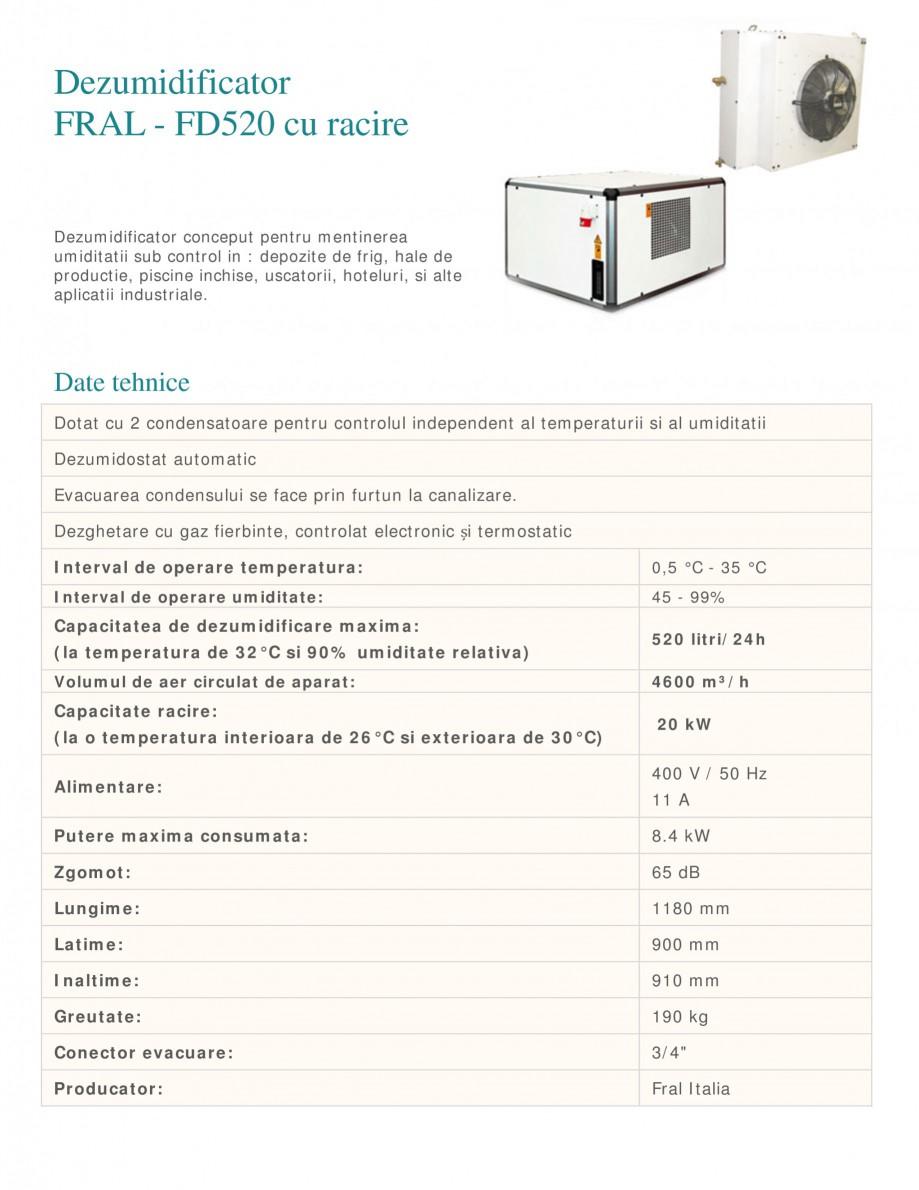 Pagina 1 - Dezumidificator industrial cu racire FRAL FD 520 Fisa tehnica Romana Dezumidificator FRAL...