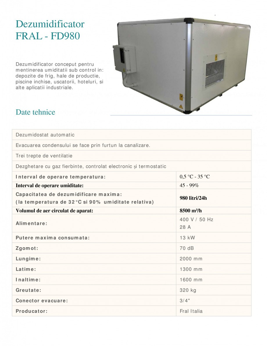 Pagina 1 - Dezumidificator industrial FRAL FD 980 Fisa tehnica Romana Dezumidificator FRAL - FD980...