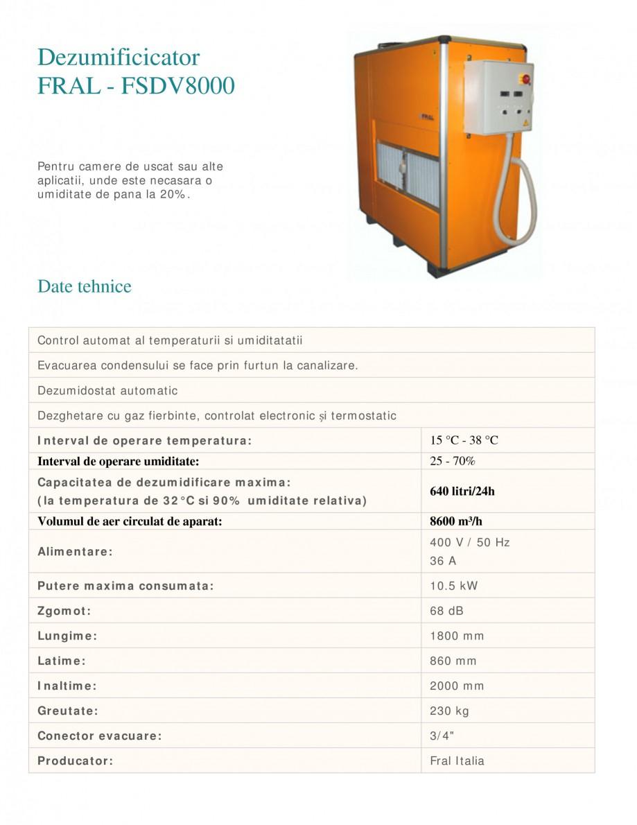 Pagina 1 - Dezumidificator industrial FRAL FSDV 8000 Fisa tehnica Romana Dezumificicator FRAL -...
