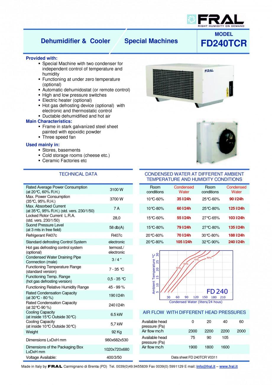 Pagina 1 - Dezumidificator industrial cu racire FRAL FD 240 Fisa tehnica Engleza MODEL  Dehumidifier...
