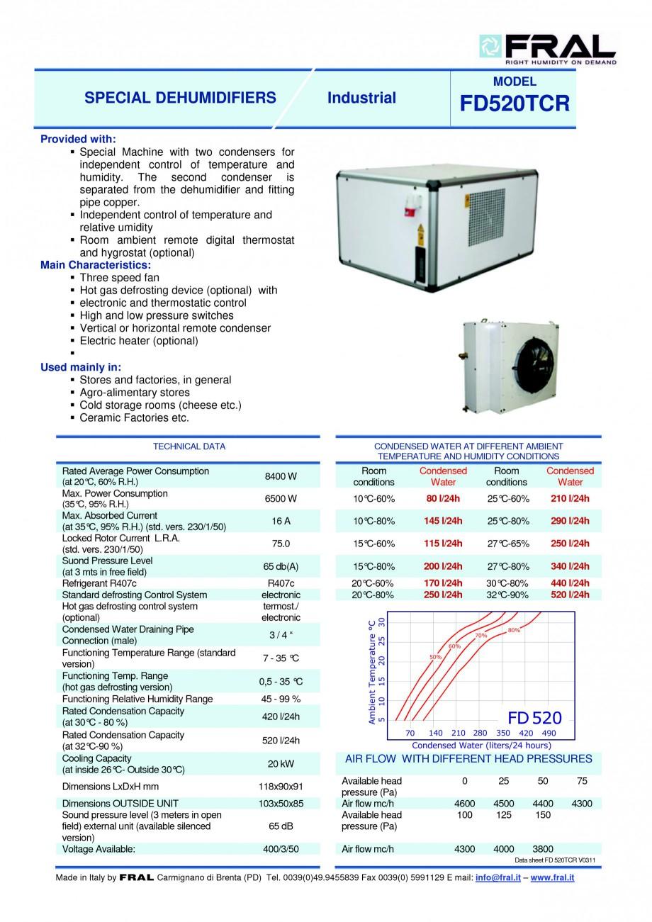 Pagina 1 - Dezumidificator industrial cu racire FRAL FD 520 Fisa tehnica Engleza MODEL  SPECIAL...