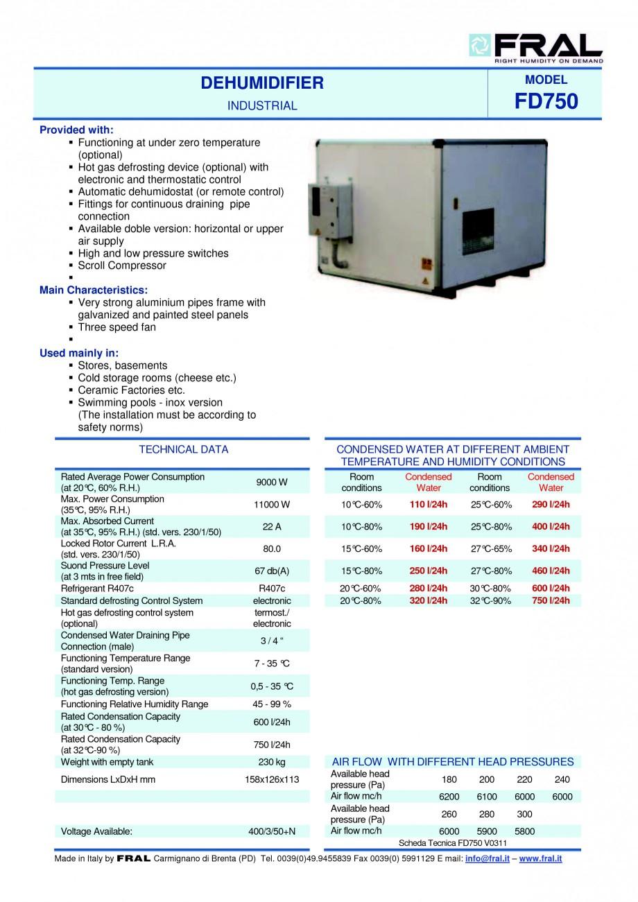 Pagina 1 - Dezumidificator industrial FRAL FD 750 Fisa tehnica Engleza DEHUMIDIFIER INDUSTRIAL...