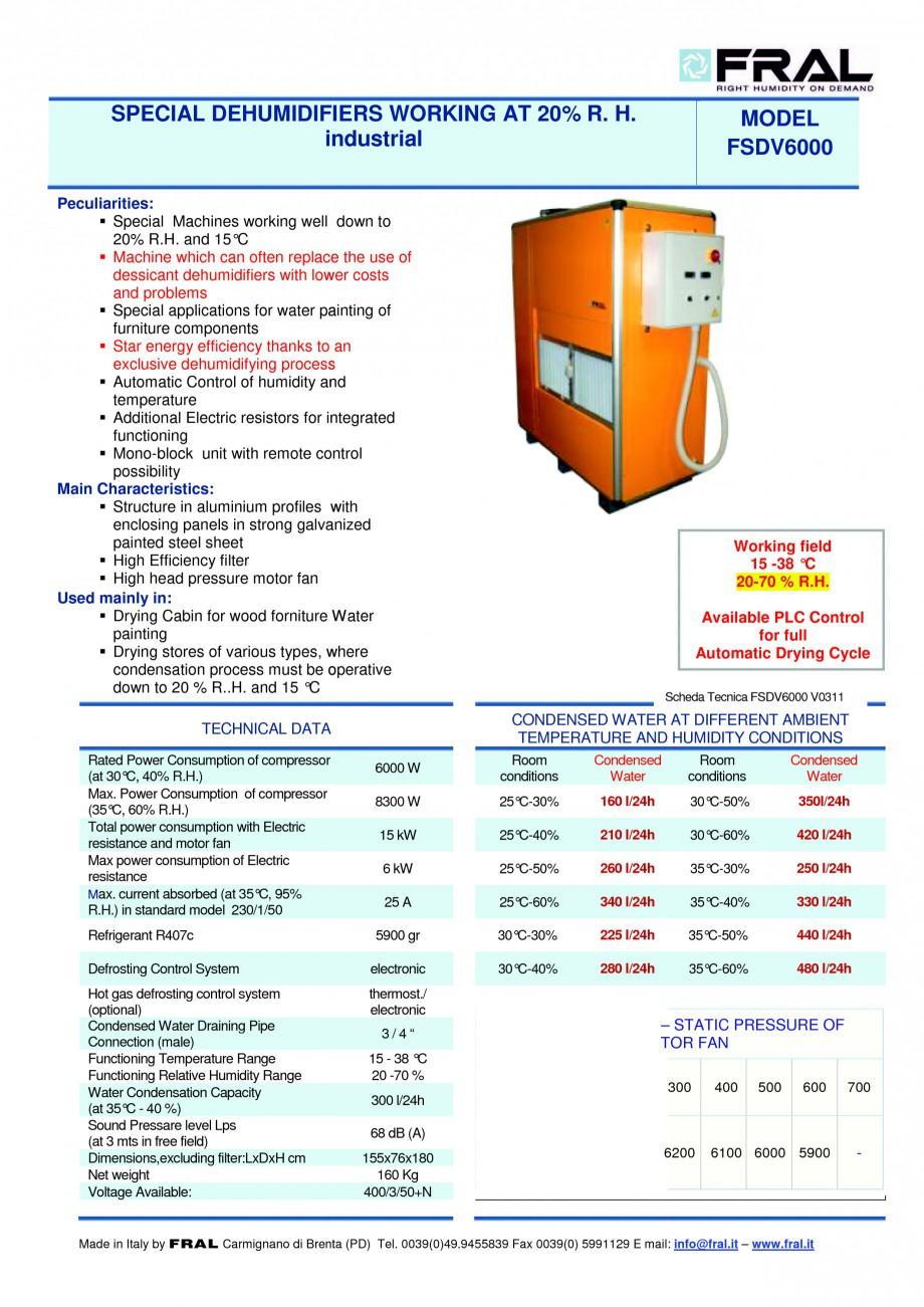 Pagina 1 - Dezumidificator industrial FRAL FSDV 6000 Fisa tehnica Engleza SPECIAL DEHUMIDIFIERS...