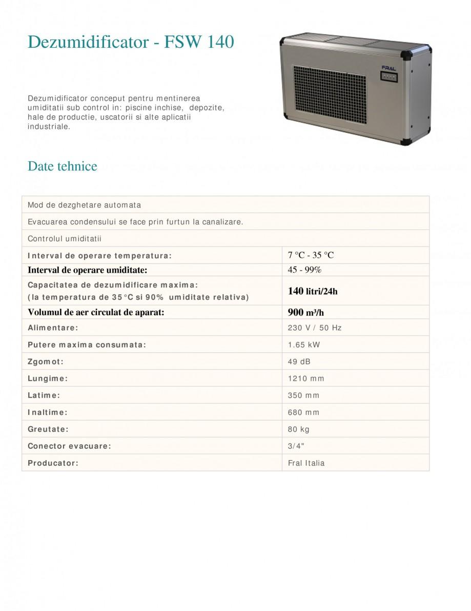Pagina 1 - Dezumidificator industrial FRAL FSW 140 Fisa tehnica Romana Dezumidificator - FSW 140...