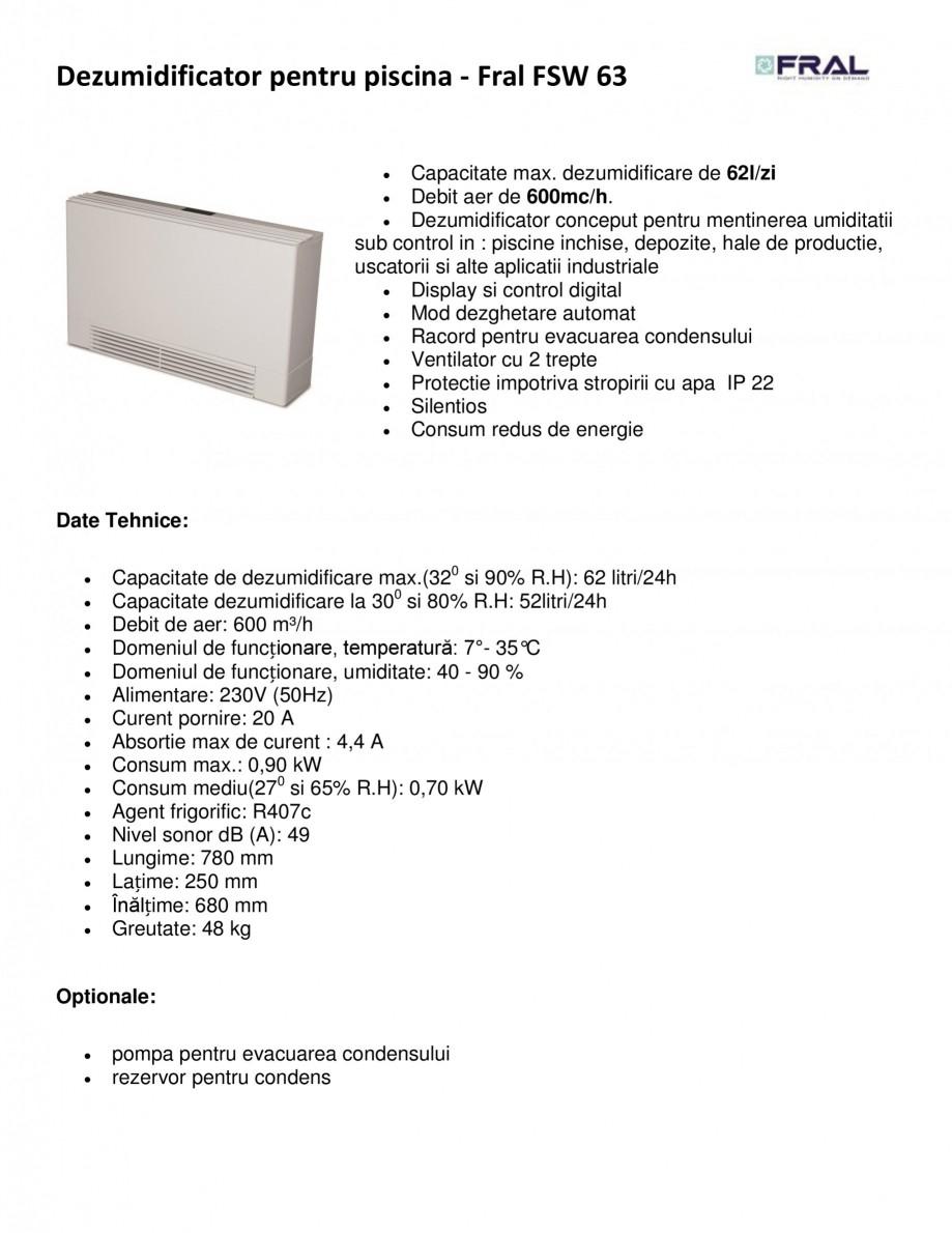 Pagina 1 - Dezumidificator pentru piscina FRAL FSW 63 Fisa tehnica Romana Dezumidificator pentru...