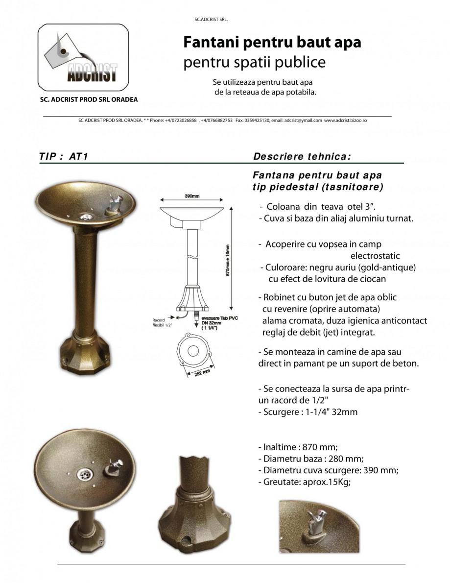 Pagina 1 - Fantana pentru baut apa tip piedestal (tasnitoare) ADCRIST AT1 Fisa tehnica Romana SC...