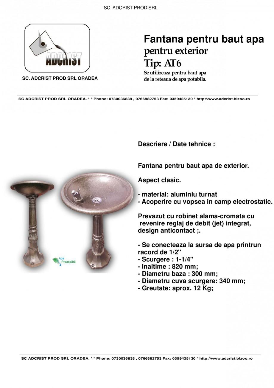 Pagina 1 - Fantana pentru baut apa pentru exterior ADCRIST AT6 Fisa tehnica Romana SC. ADCRIST PROD ...