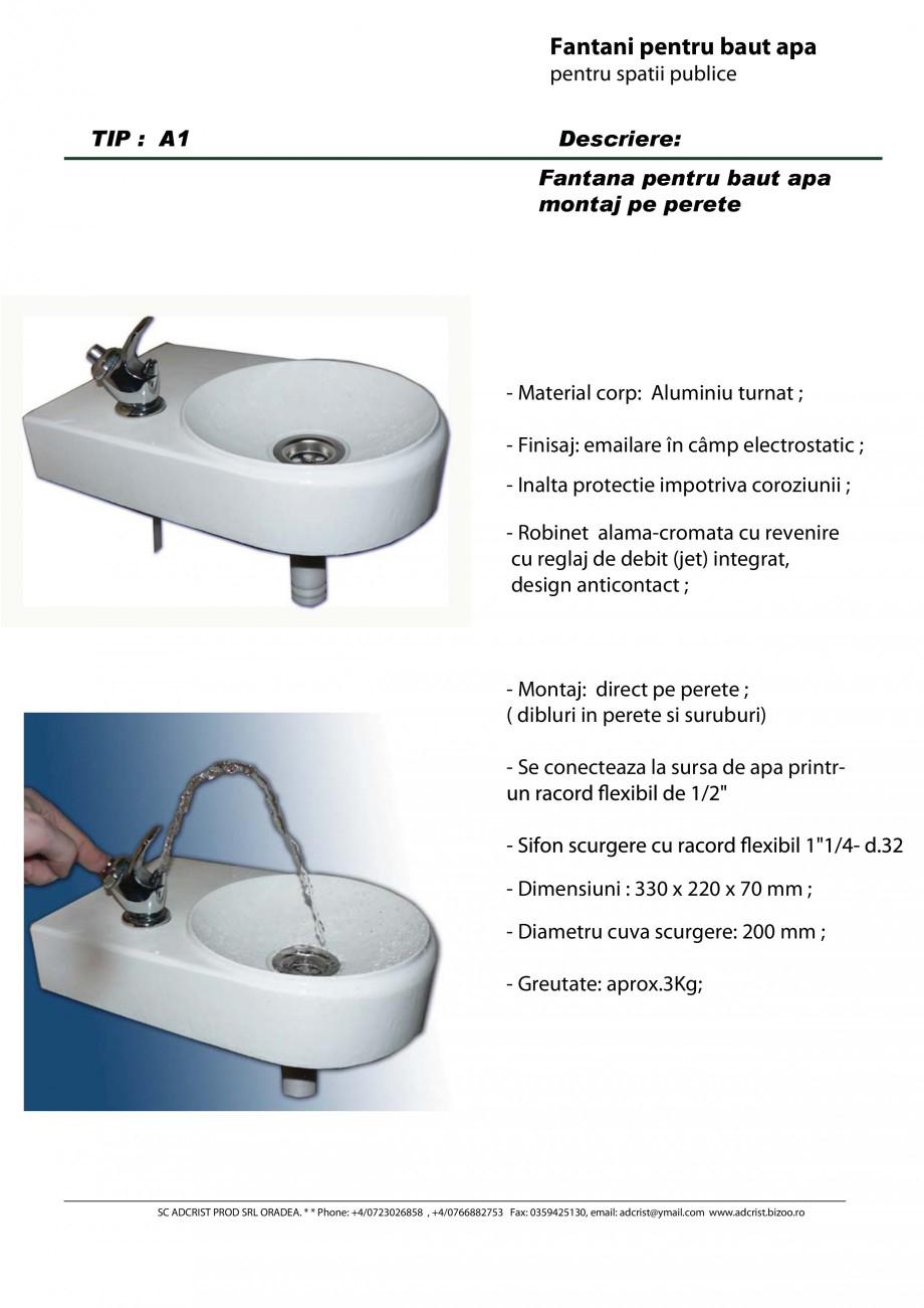 Pagina 1 - Fantana pentru baut apa montaj pe perete ADCRIST A1 Fisa tehnica Romana Fantani pentru...