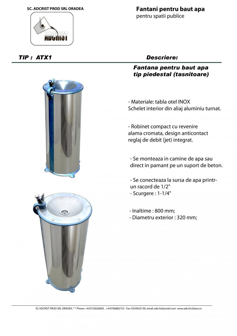 Pagina 1 - Fantana pentru baut apa tip piedestal (tasnitoare) ADCRIST ATX1 Fisa tehnica Romana SC....
