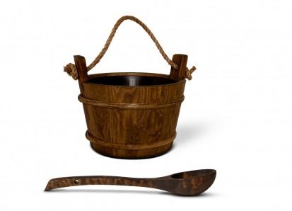 Accesorii pentru Spa / Galetusa traditionala din lemn, cu interior din plastic. Capactitate 4 litri - Polonic din lemn