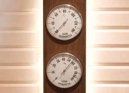 Accesorii pentru Spa / Higro-Termo Metru - Confectionat din lemn de frasin afumat si inox 1