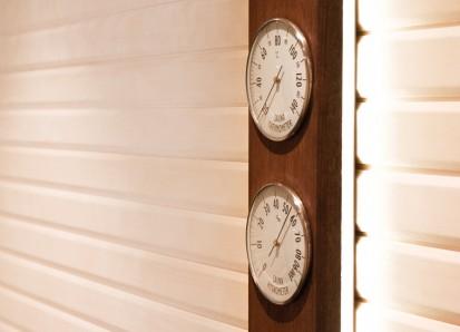 Accesorii pentru Spa / Higro-Termo Metru - Confectionat din lemn de frasin afumat si inox 2