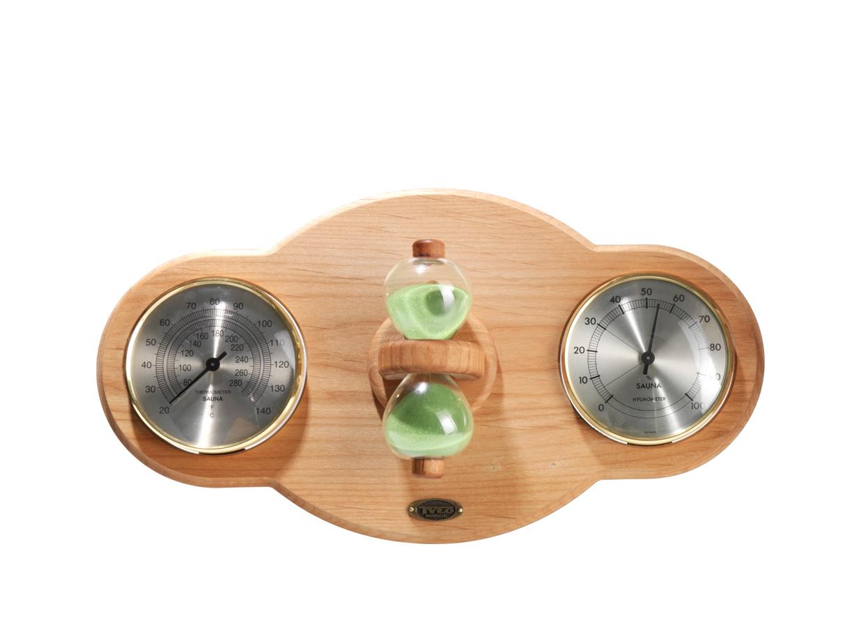 Placa din lemn de fag, pe care sunt fixate higrometru, termometru si o clepsidra pentru sauna TYLO - Poza 16
